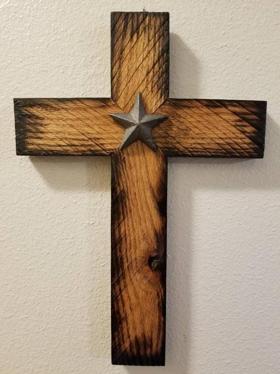 Rustic Rough Sawn Oak Wooden Cross Wall Art With Star Hand Made In