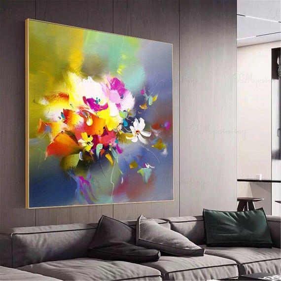Peintures Abstraites Originales Fleur Acrylique Sur Toile De