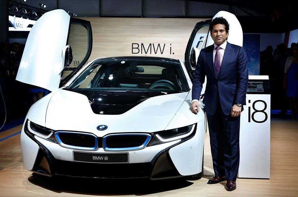 Cricket Icon Sachin Tendulkar Poses With A Bmw I8 Hybrid Car At The
