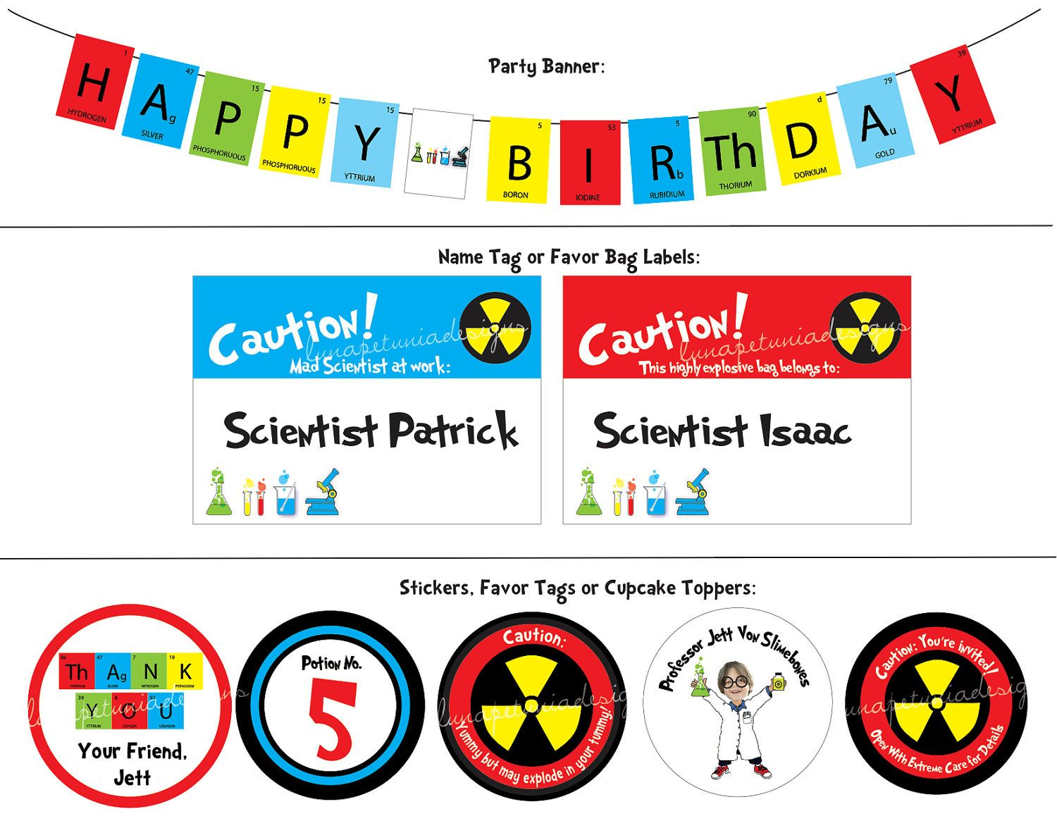 Mad Science Birthday Party banner, tags & stickers   Science ...