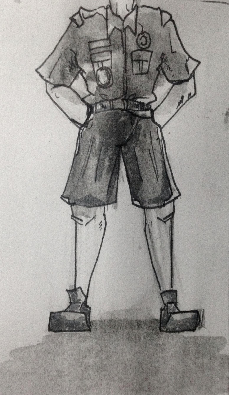 pen& ink, watercolor wash of venture crew uniform