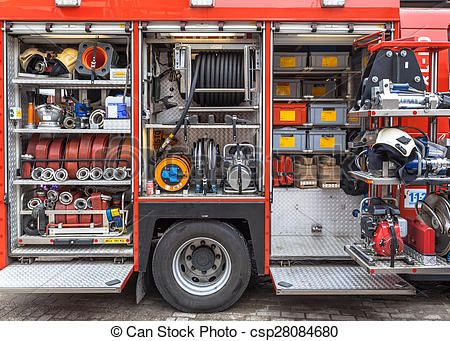 pictures of equipment inventory of a fire engine hoses valves