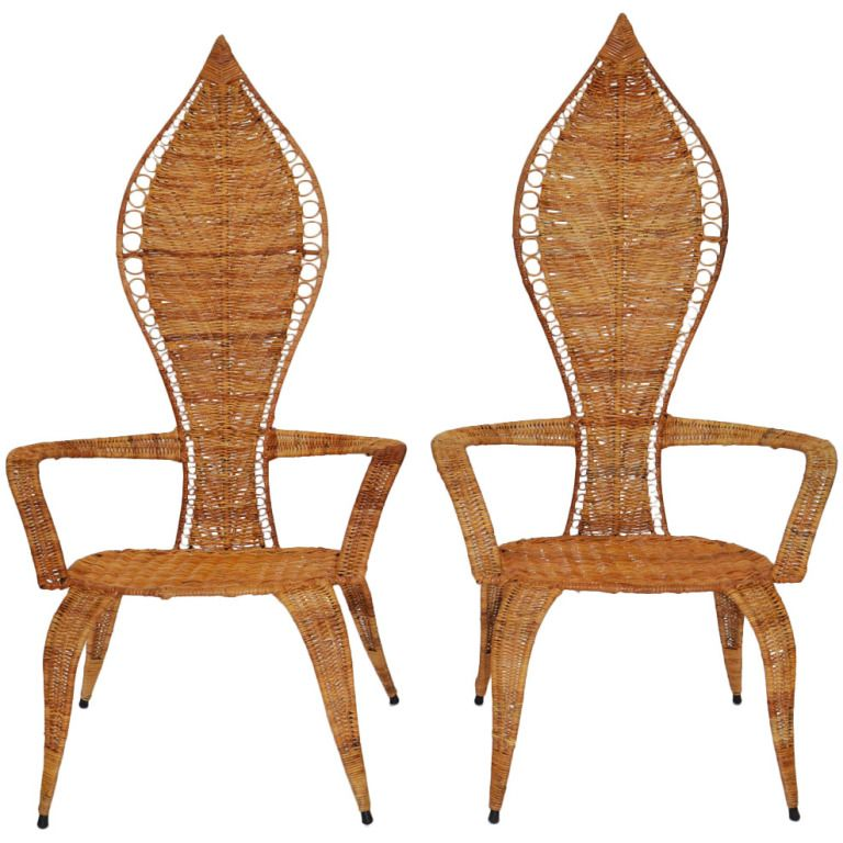 Unusual Chair Company Chichester Hanging Restoration Hardware Pair Of Woven Rattan Armchairs By Miller Fong Sofas Chairs From A Unique Collection Antique And