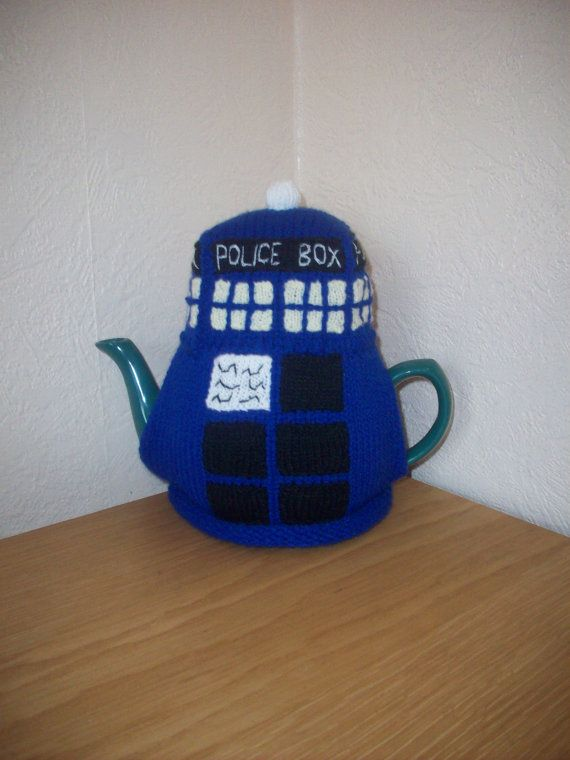 Knitted Tea Cosy Cozy Cosie Tardis Dr who Shabby Chic