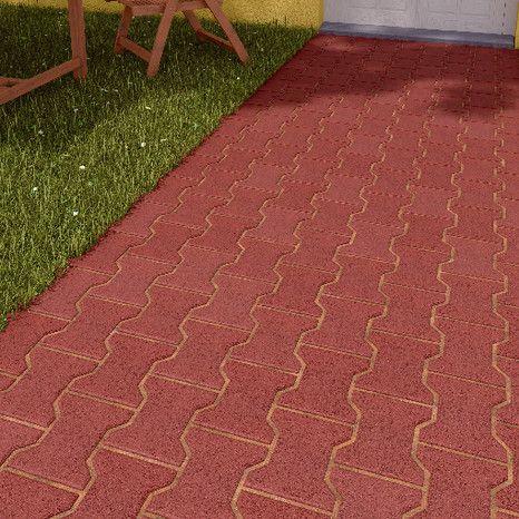 Pave De Jardin En Beton Couleur Rouge Forme En I L 16 5 Cm L 19 8 Cm Ep 4 2 Cm Autobloquant Pour Terrass Jardin En Beton Paves De Jardin Terrasse Pave