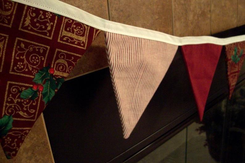 Christmas Banner Fabric Flag Holiday Farmhouse Decor Photo Prop