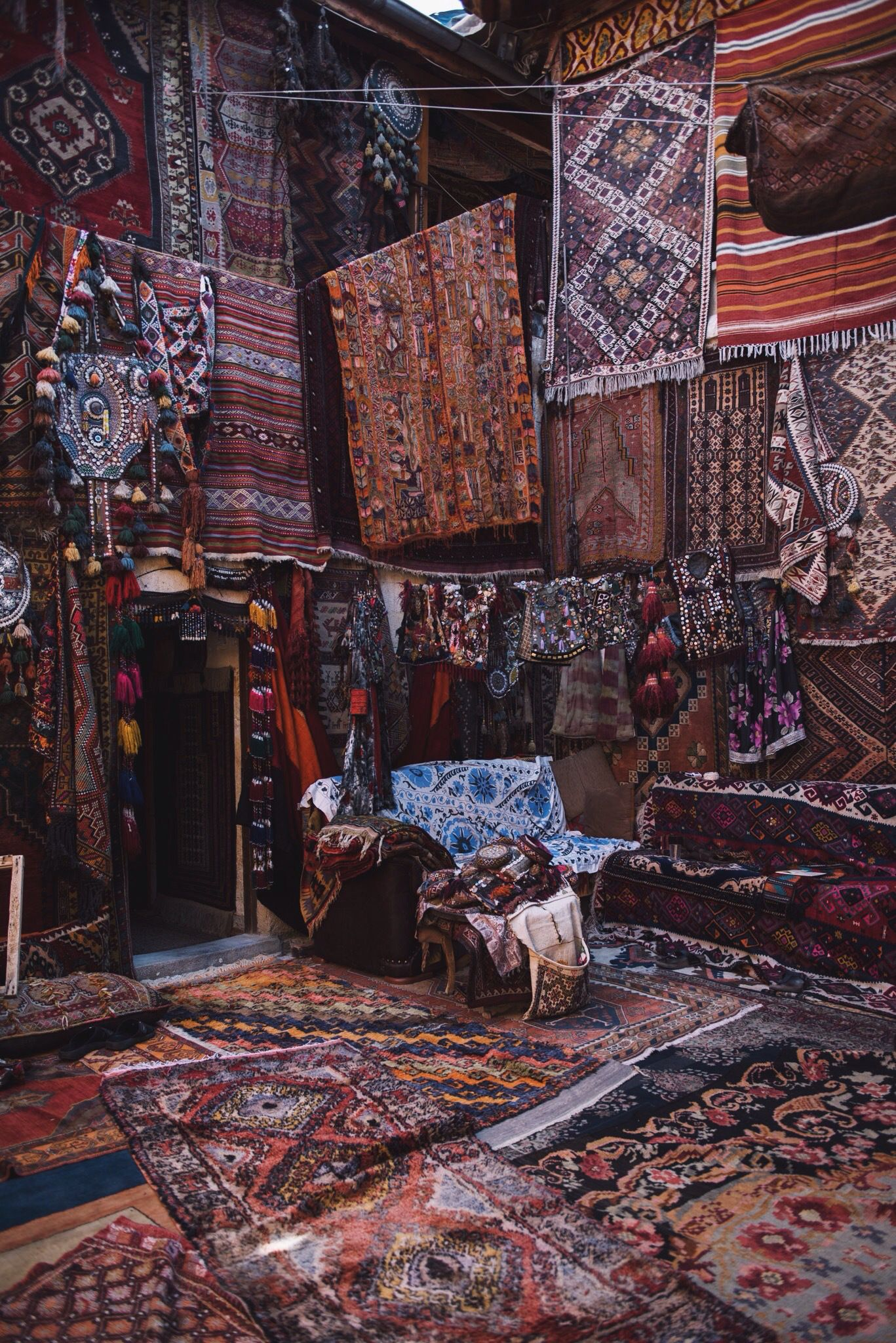 Traditional Carpets And Rugs In Goreme A Town The Cadocia Region Of Central Turkey