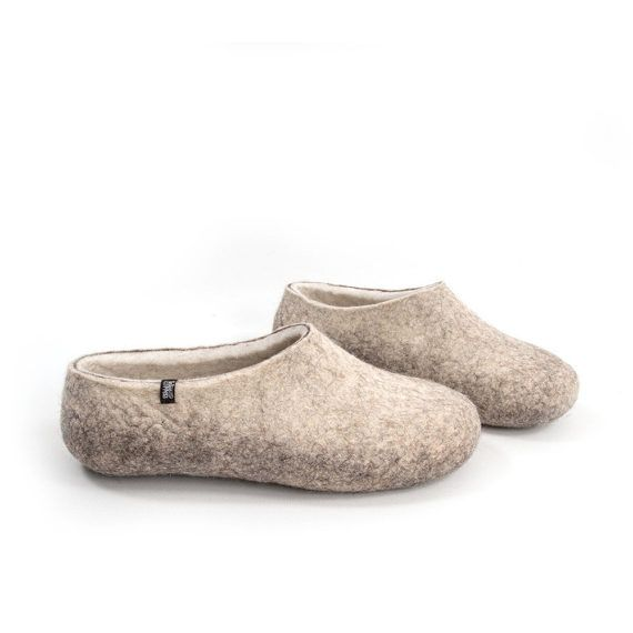 1f47c8ec0a49c Organic indoor shoes, Felted Wool Slippers for men, Wool clogs, Eco ...