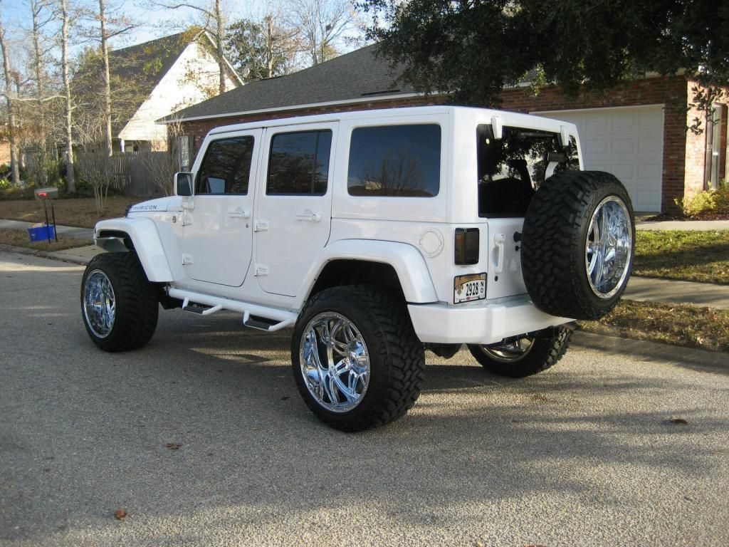 Lifted Rubicon Jeep White