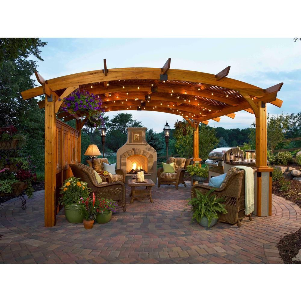 Sonoma 12 Ft X 12 Ft Redwood Douglas Fir Arched Pergola Sonoma12 R The Home Depot Outdoor Pergola Backyard Gazebo Backyard Patio