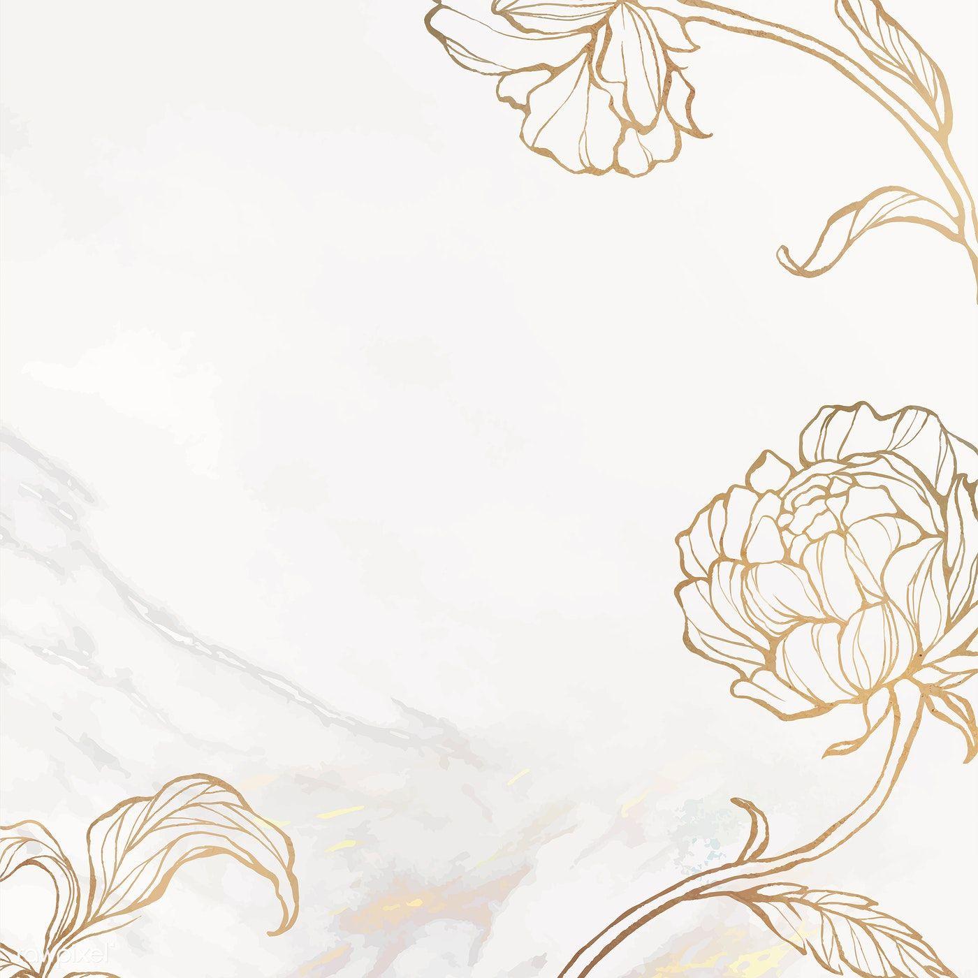 Download Premium Illustration Of Gold Floral Outline On Marble Background Floral Background Marble Background Background Vintage