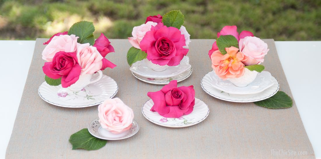 Bridal Shower Centerpiece ~ Using vintage china from a thrift store or family