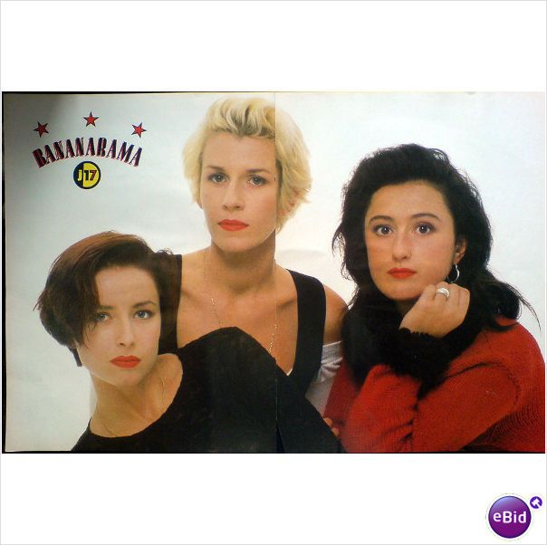 Bananarama. Centre poster with Jackie in black + red up close. Just 17 Magazine