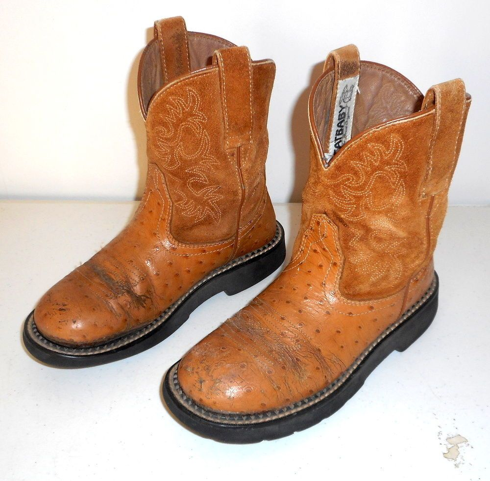022f1654e9d Womens 7 B Cowboy Boots Ariat Distressed Fatbaby Fat Baby Boho ...