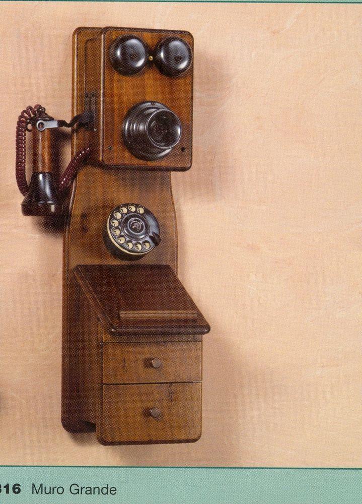 316 telefono in legno e ottone da parete vintage antico a - Telefoni a parete ...