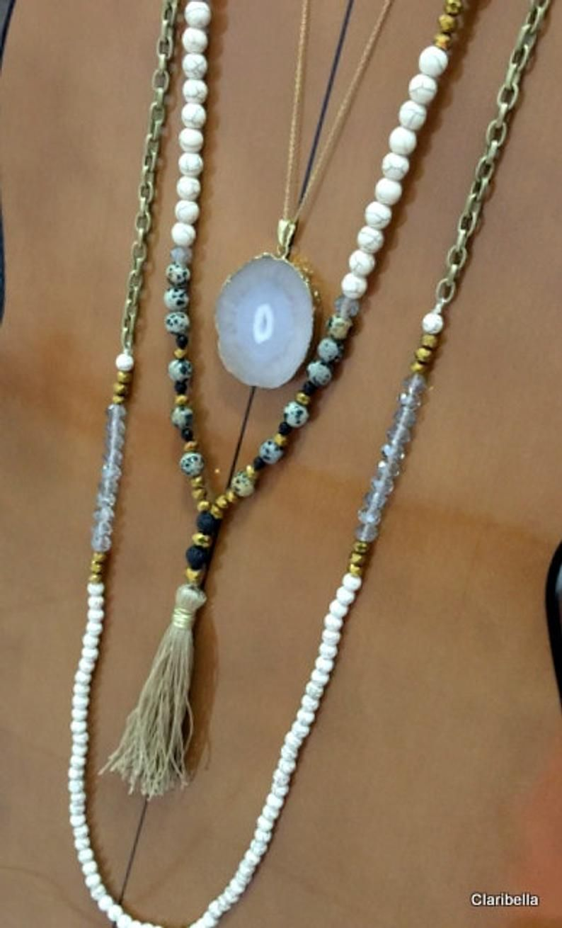 Photo of N696 – Leyered Tassel Necklaces –   Natural Cream Beads, Agate Stone, Gold Tassel Necklace – Rustic Boho Chic Jewelry- Claribella