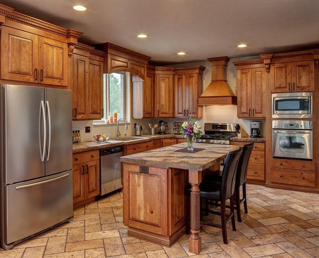 15 Stunning Rustic Kitchen Cabinet Design For More Enjoyable Rustic Kitchen Cabinets Rustic Kitchen Design Cherry Cabinets Kitchen