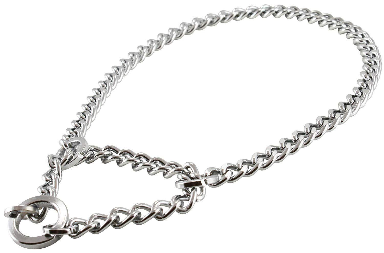 Single Chain Martingale Metal Dog Semi Choke Collar Chrome