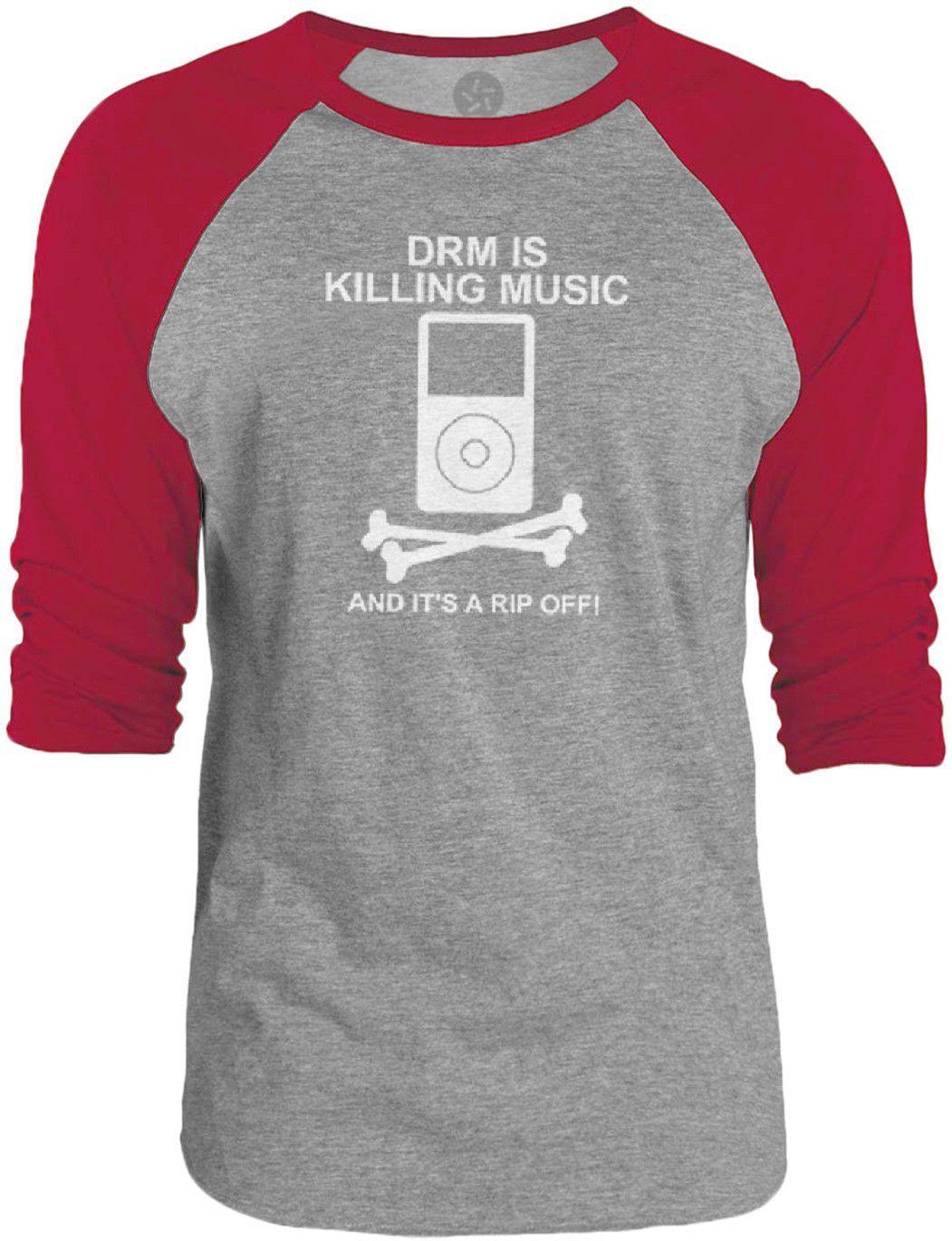 Big Texas DRM is Killing Music (White) 3/4-Sleeve Raglan Baseball T-Shirt