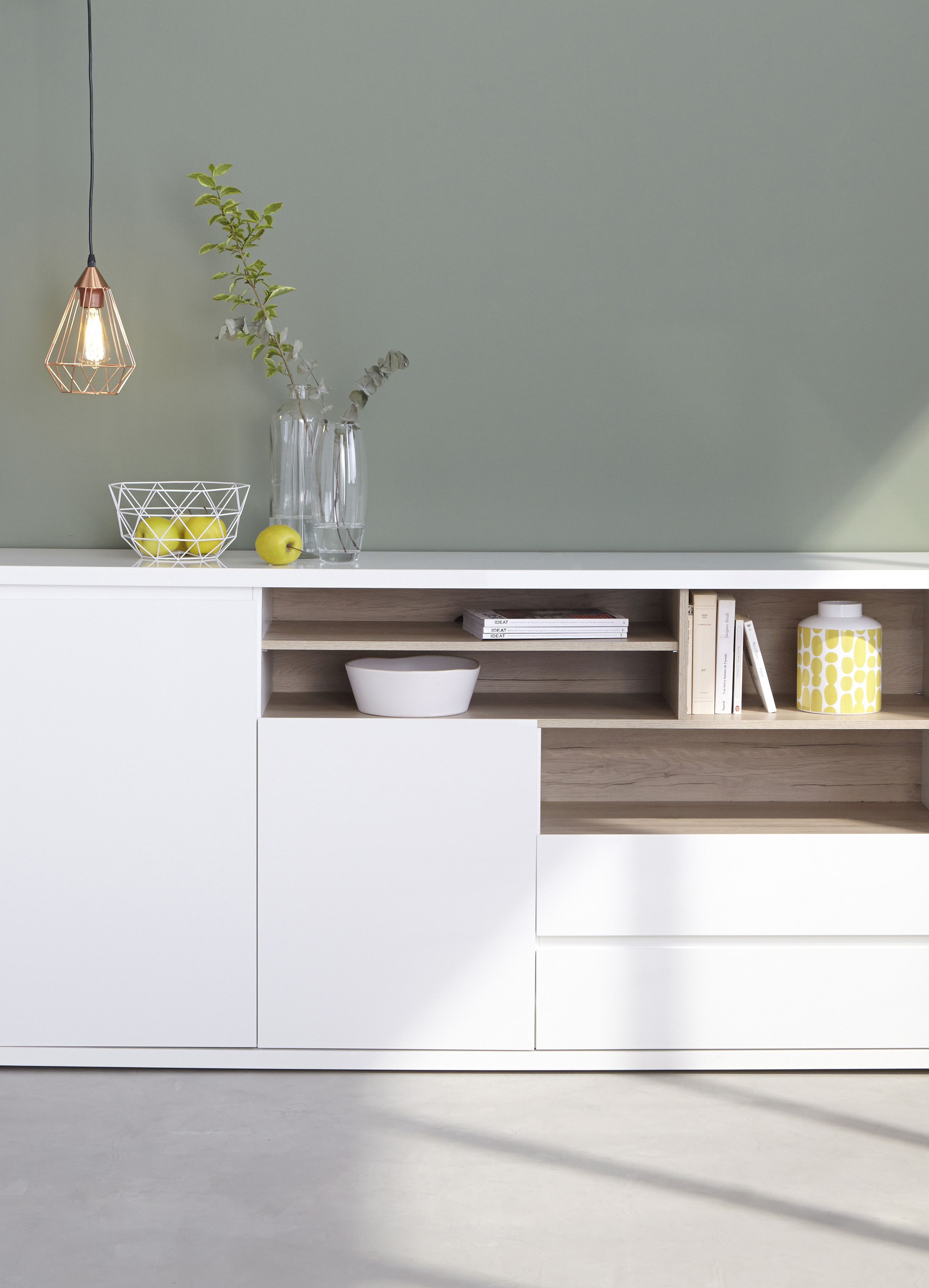 Photo Meuble Bas Salon Blanc Gris