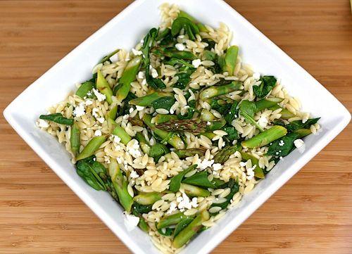 Lemon Orzo Salad w/ Asparagus, Spinach and Feta