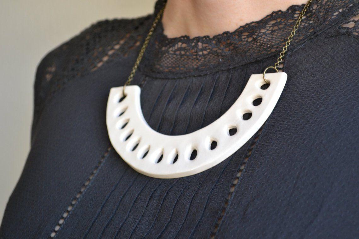 White statement necklace, ceramic jewellery, unique ...