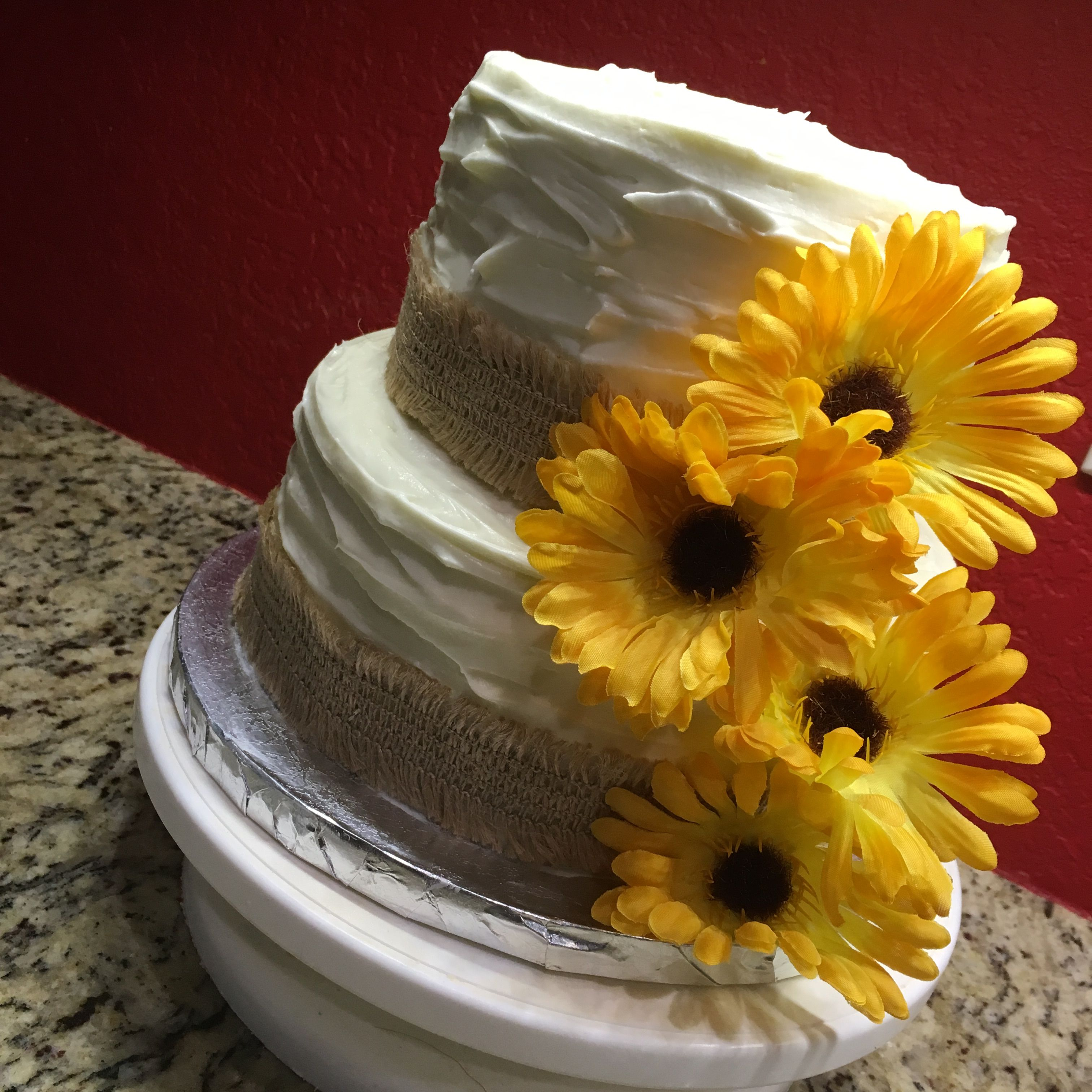 Rustic 2tier cake with burlap and sunflowers. Perfect for