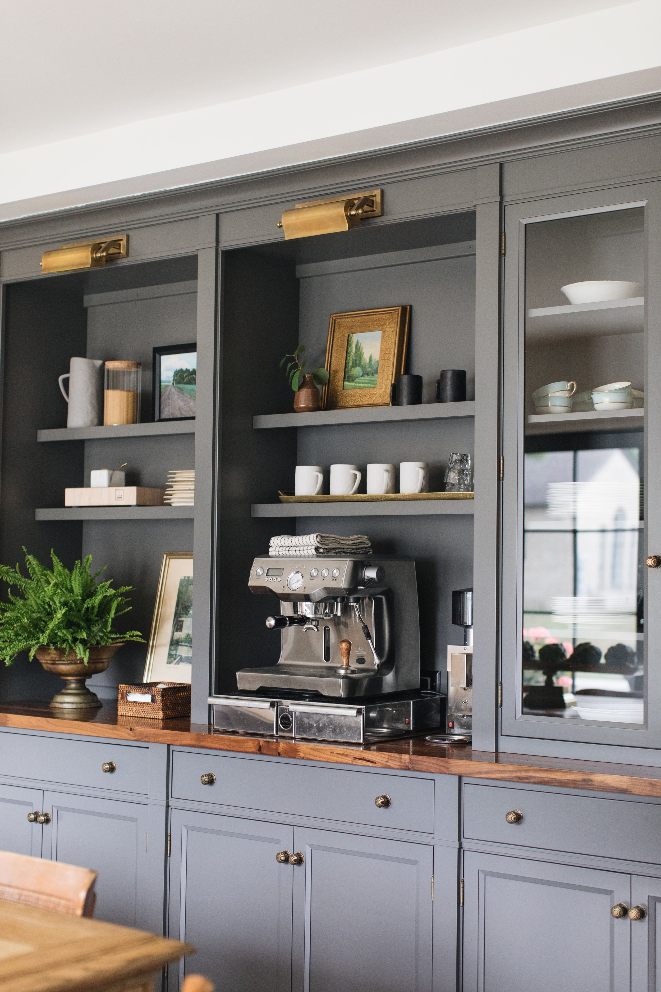 Coffee Bar With Gray Blue Cabinets Flush Inset Cabinetry Coffee Station Antique Artwork Wood Counter Glass Cabin Home Decor Home English Cottage Kitchens
