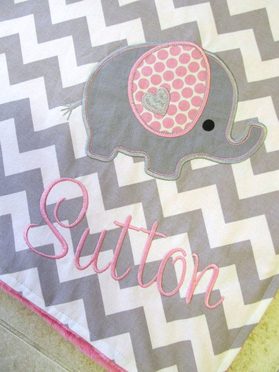 Personalized elephant baby blanket! Too cute.