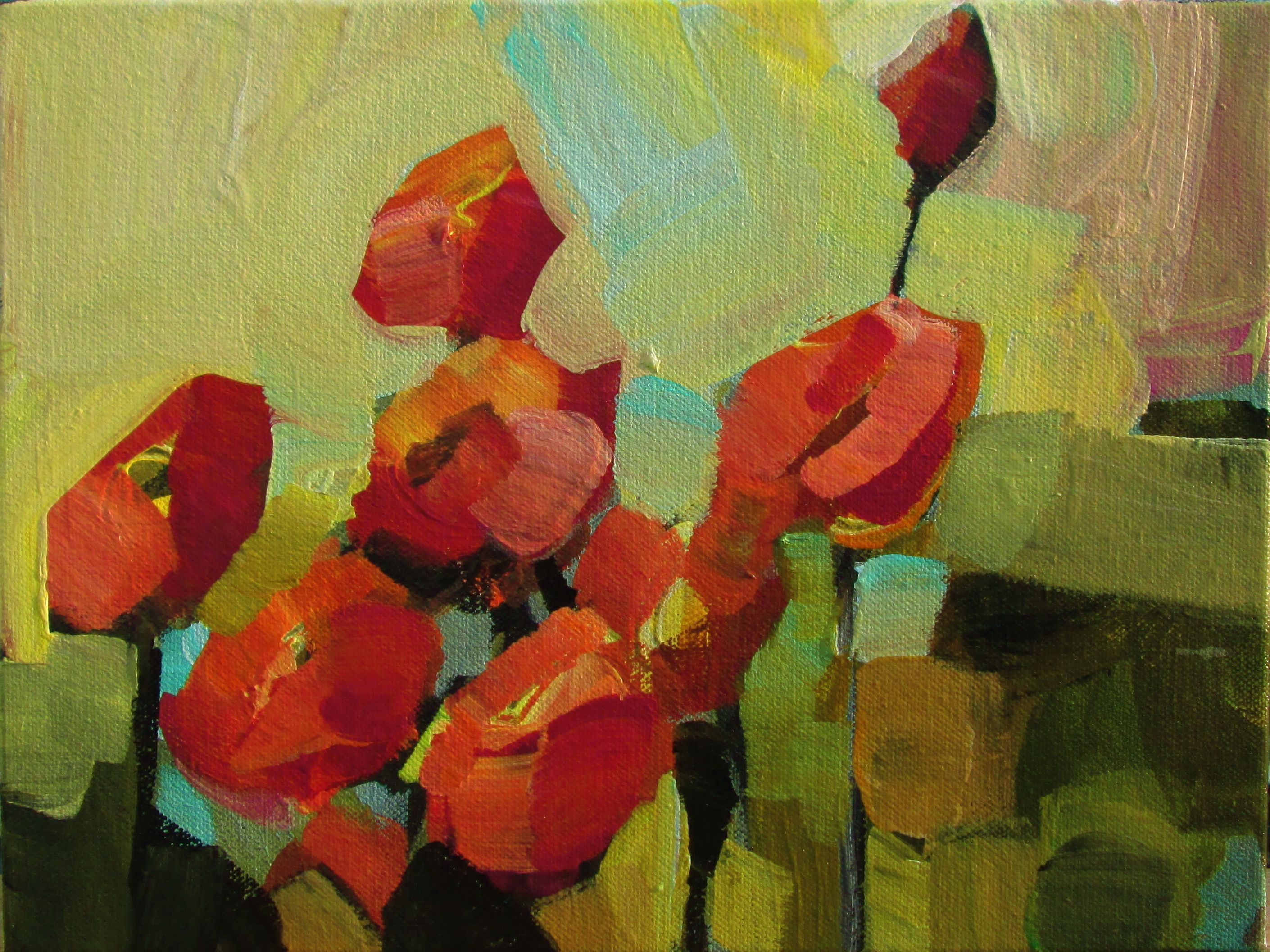 jillvansickle.com   artwork, painting, decor, art, floral, poppies, red
