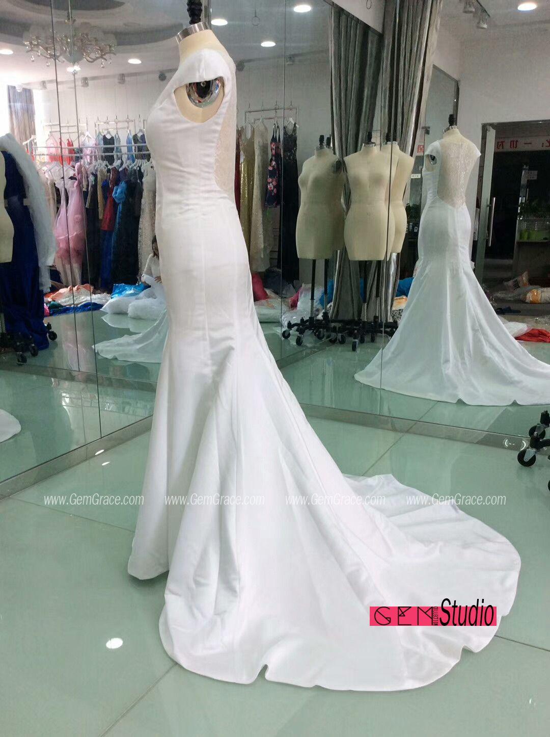 Plain white satin mermaid open back wedding dress with train gem