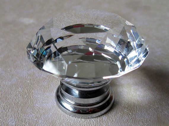 large crystal knob / glass knobs drawer pulls / dresser knobs