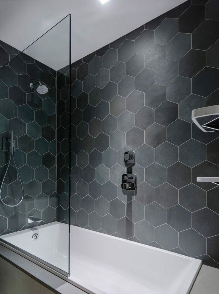 Hexagon Fliesen Modernes Bad Grau Dunkel Wanne Dusche Badezimmer Fliesen Hexagon Fliesen Badezimmerfliesen Ideen