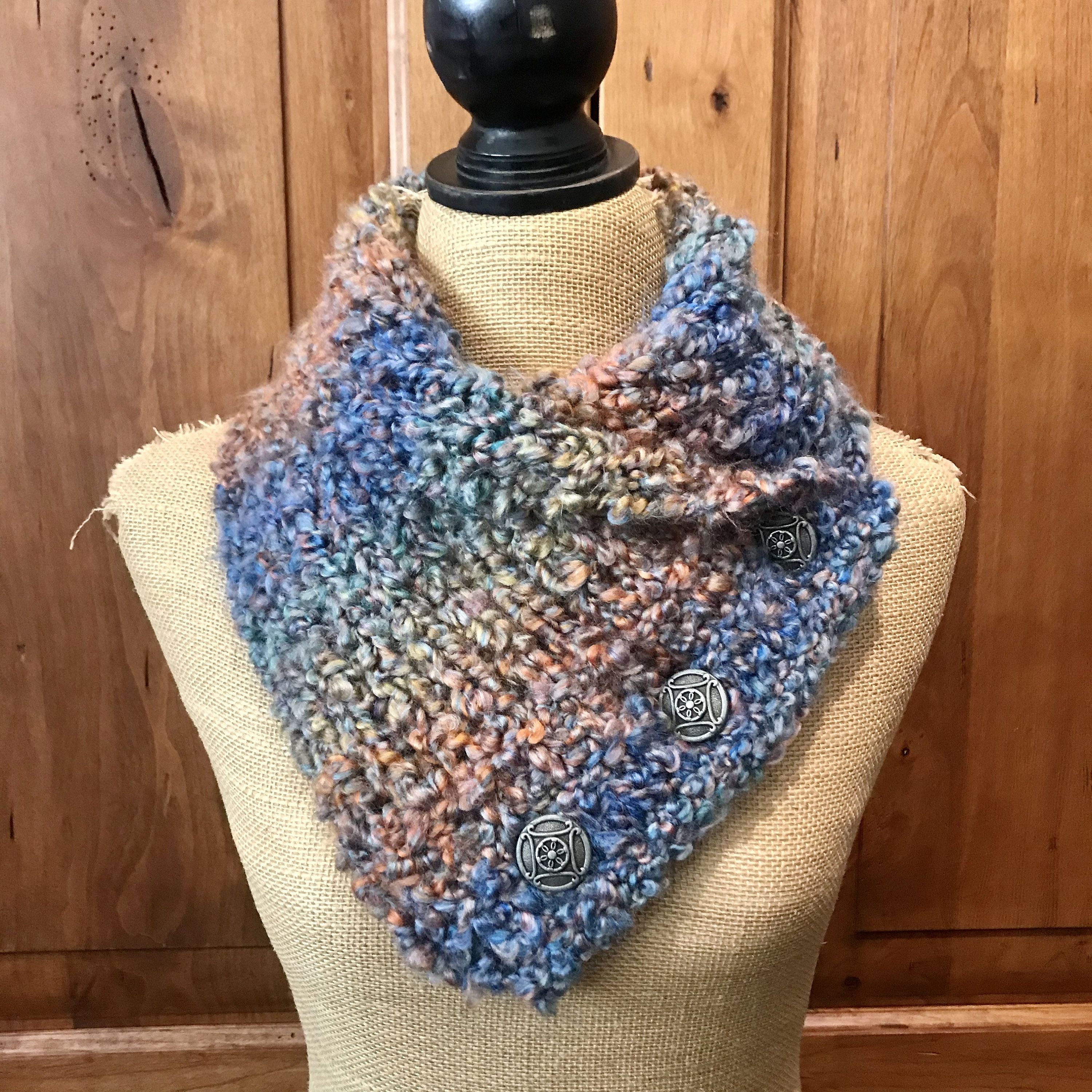 Photo of Hand Knitted Buttoned Cowl in Homespun Thick & Quick Painted Desert Item# KC929205