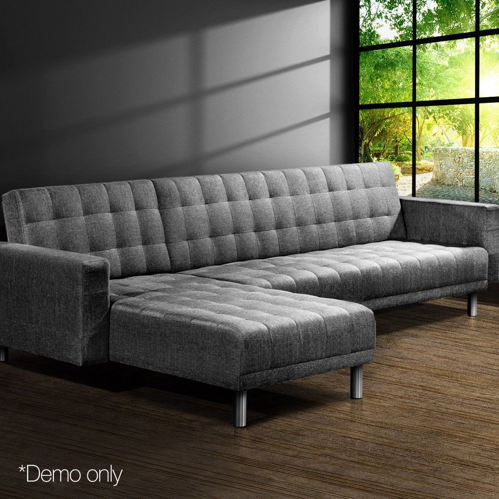 Corner Sofa Bed Couch Lounges Futon Suite Chaise Set Modular Seater Fabric Linen Sofa Couch Bed Corner Sofa Bed Corner Sofa