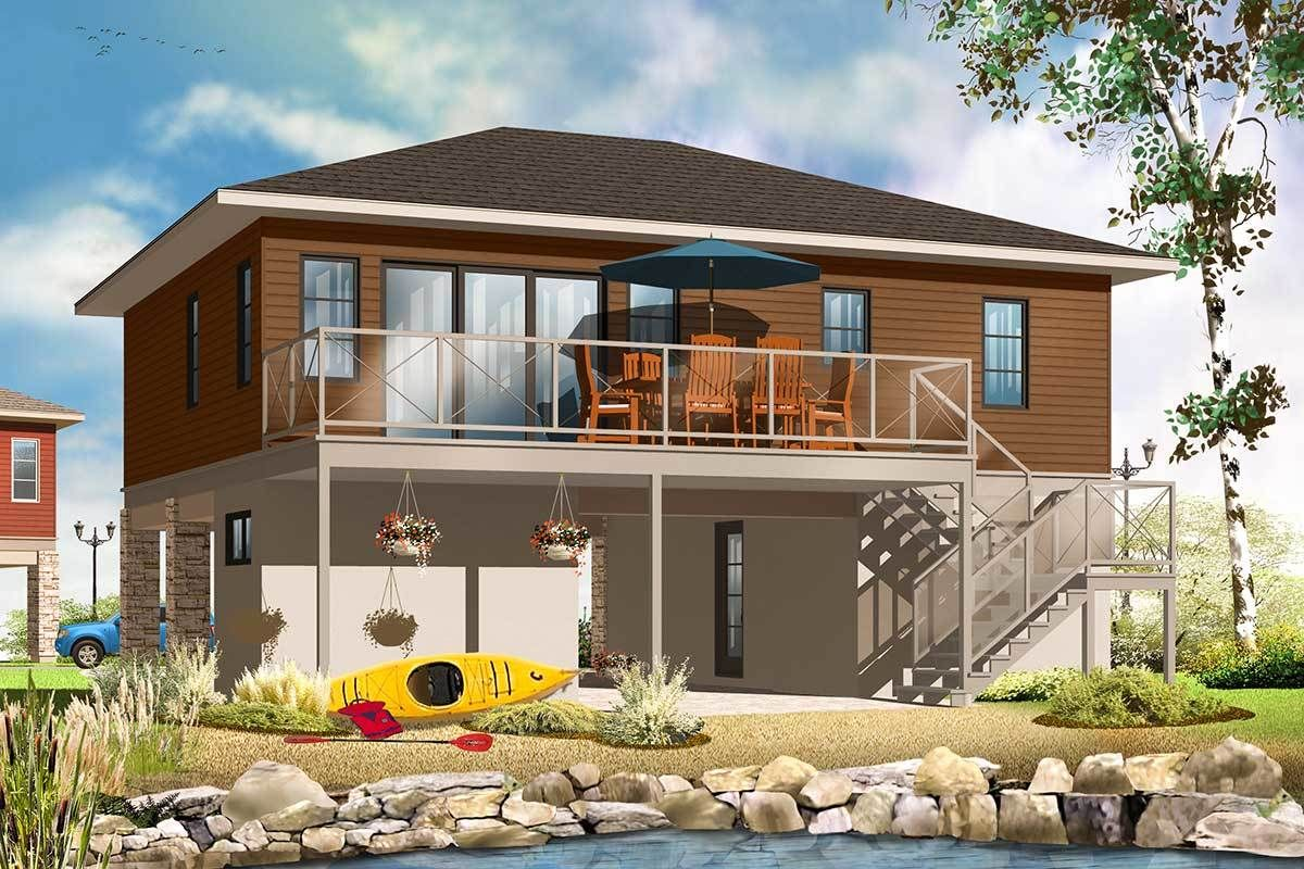 Plan 22340dr No Worries Flood Zone House Plan In 2020 Cottage Style House Plans Vacation House Plans House Plans