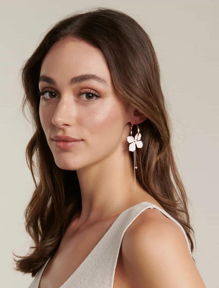 Jemma Petal Thread and Bar Drop Hoop Earrings Women's