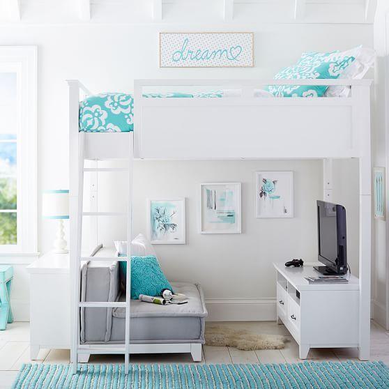 Hampton Convertible Loft Set With Cushy Loveseat Blanca