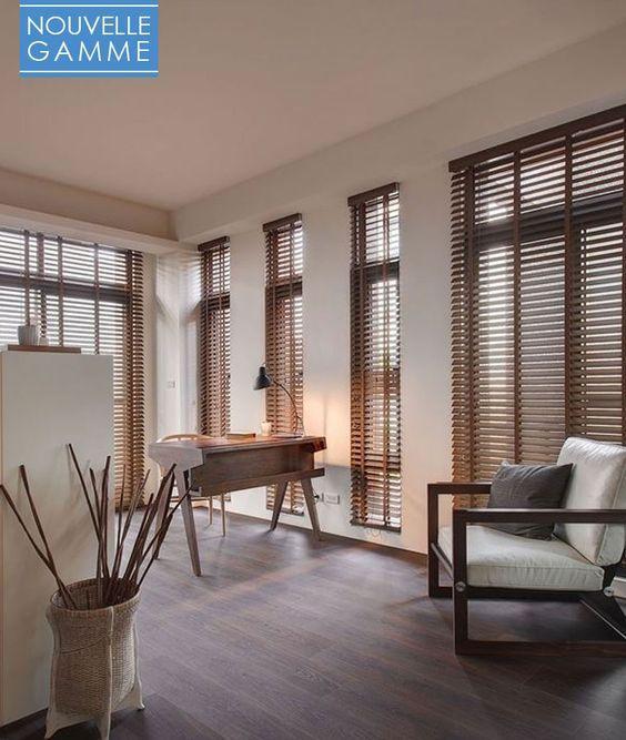 Store vénitien bois sur mesure lames 25 ou 50 mm - Stores-discount - store pour fenetre interieur