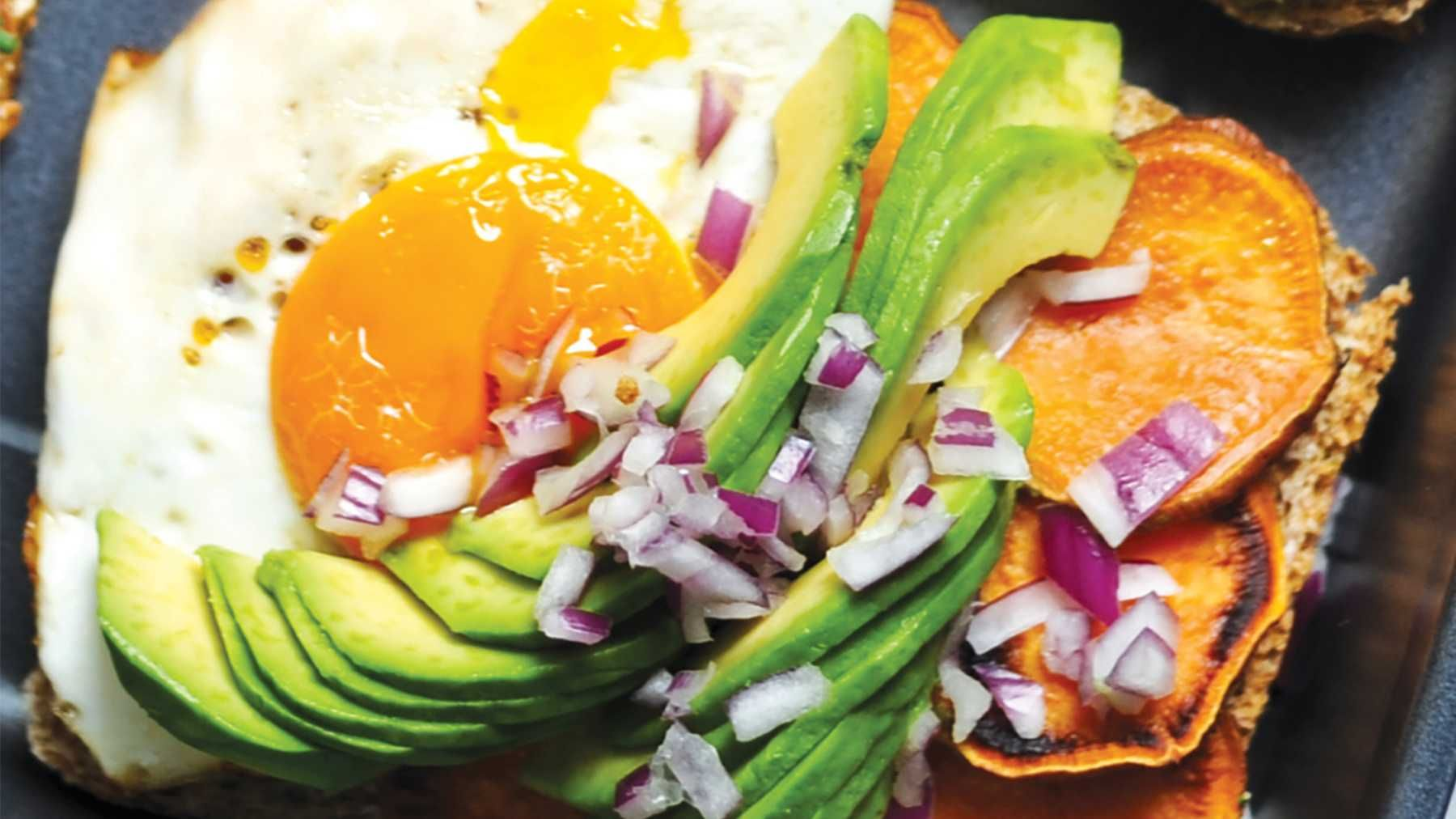 The Lumberjack: Toast with Sweet Potato, Egg & Avocado. Egg adds a protein boost while avocado acts as a healthy source of fats in this hearty toast recipe that is sure to please. Looking for a gluten-free option? CE has got you covered!