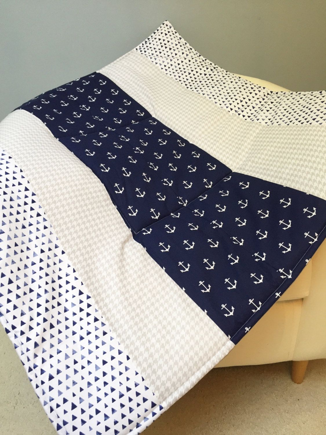 Baby Play Mat Padded Floor Blanket Anchors Navy Gray White Gender Neutral Modern Quilt Tummy Time Newborn Gift Personalize Nap 35 X By