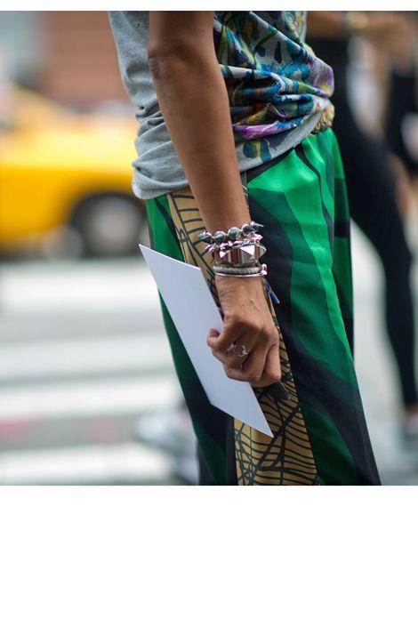 pants by dries van noten, colors and bracelets