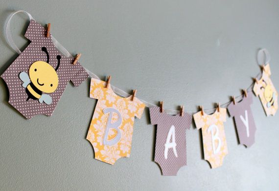 bumble bee baby shower banner yellow and gray bumble bee baby