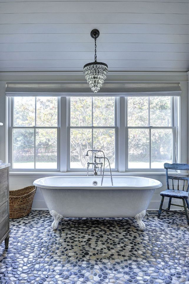Bathroom Lights Pottery Barn black and white pebble tile   plank ceiling, pottery and black and