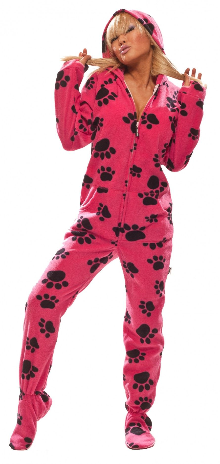 Hot Paws - Hooded Footed Pajamas - Pajamas Footie PJs Onesies One Piece Adult Pajamas - JumpinJammerz.com