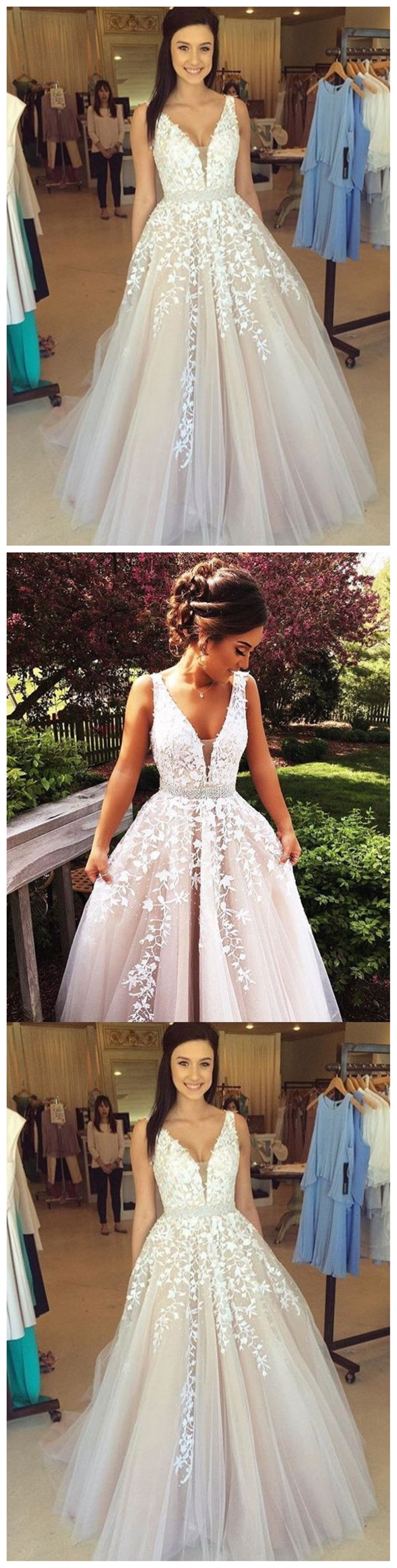 Lace tulle prom dress a line prom dress lace wedding dress