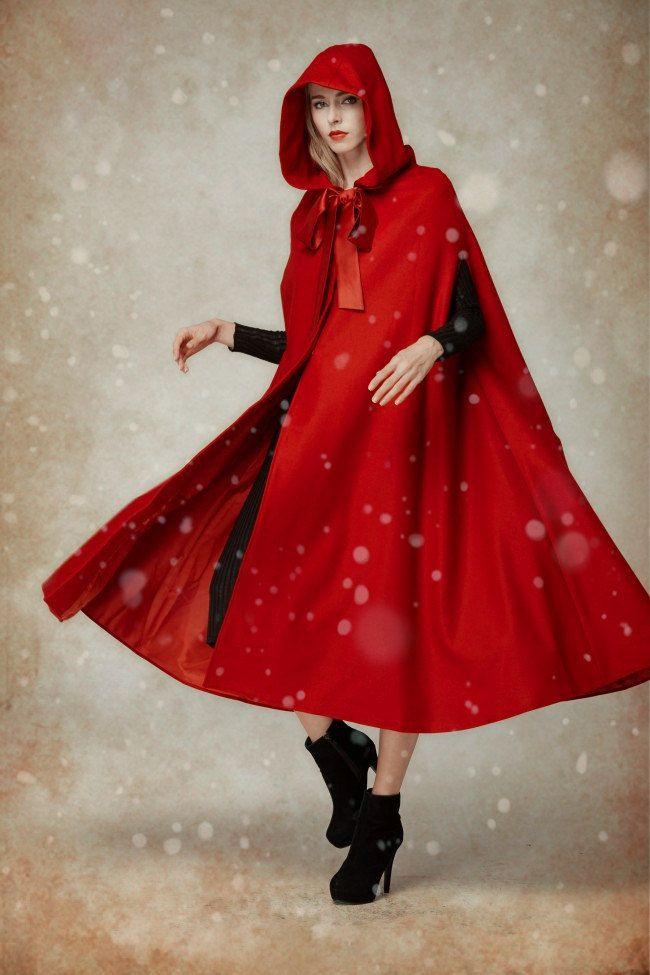 Wool Coat In Red, Hooded Wool Coat, Hooded Jacket, Red Coat,little ...