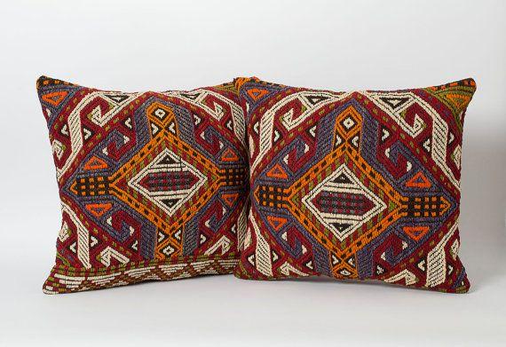Kelim Kissen 2er - Set Vintage Kelim Kissen Böhmische Home Decor Dekorative Kissen für Bett geometrische Kissen decken Kelim-Kissen-Sofakissen