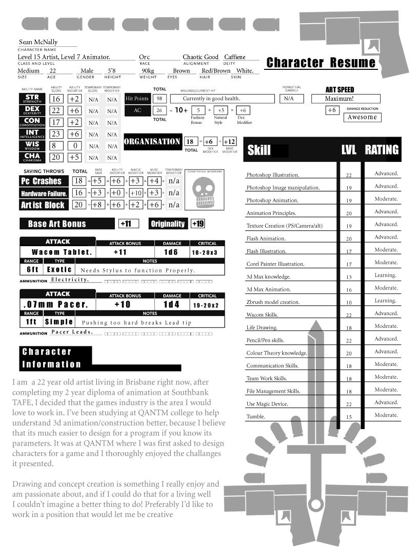 RPG Resume  Game Design Resume