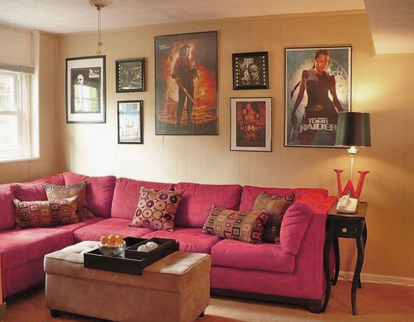 Stylish And Fascinating Movies Room Decor Small Movie Room Design With Pink Sofa And Movie Poster Interior Design Living Room Movie Room Decor Small Movie Room